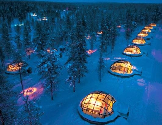 Hotel in Finland where your room is a glass igloo so you can see the Northern Lights.