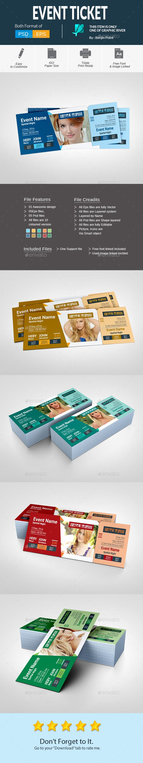 #Event #Ticket - Cards & Invites Print Templates Download here: https://graphicriver.net/item/event-ticket/17772134?ref=alena994
