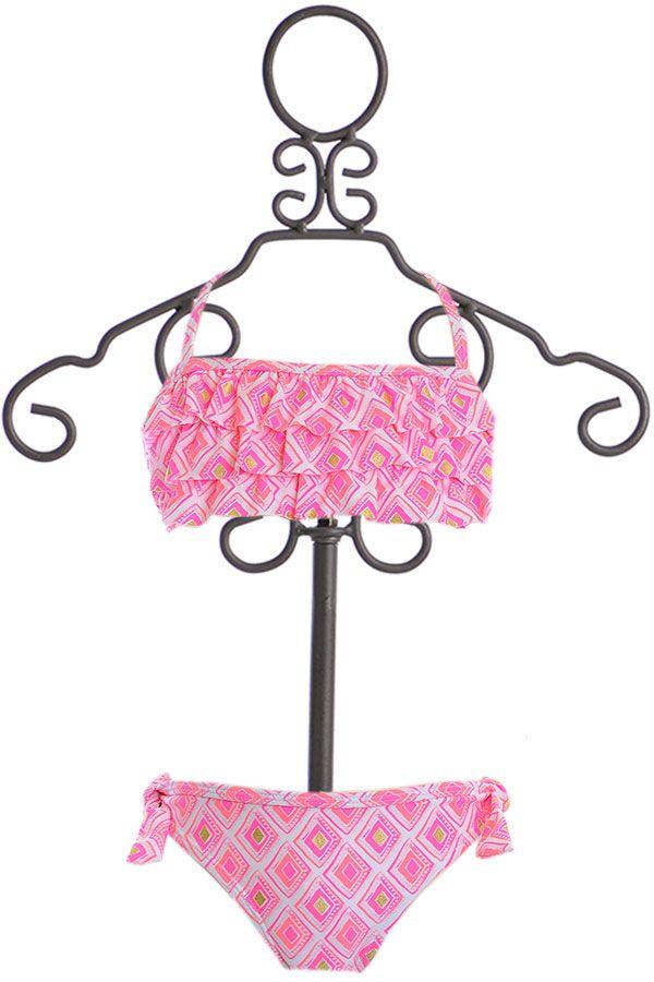 SnapperRock Pink Bandeau Bikini with Ruffles