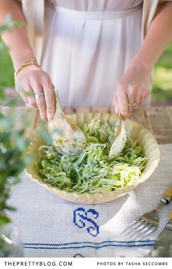 Fennel, Apple & Celery Salad | Photographer: @Tasha Seccombe  , Recipe, testing & preparation: The Food Fox, Styling: @Nicola Pretorius , Accessories: @Dear Rae Jewellery , Dress: @Jessica Harwood , Linen Runner: Nest Vintage Shop