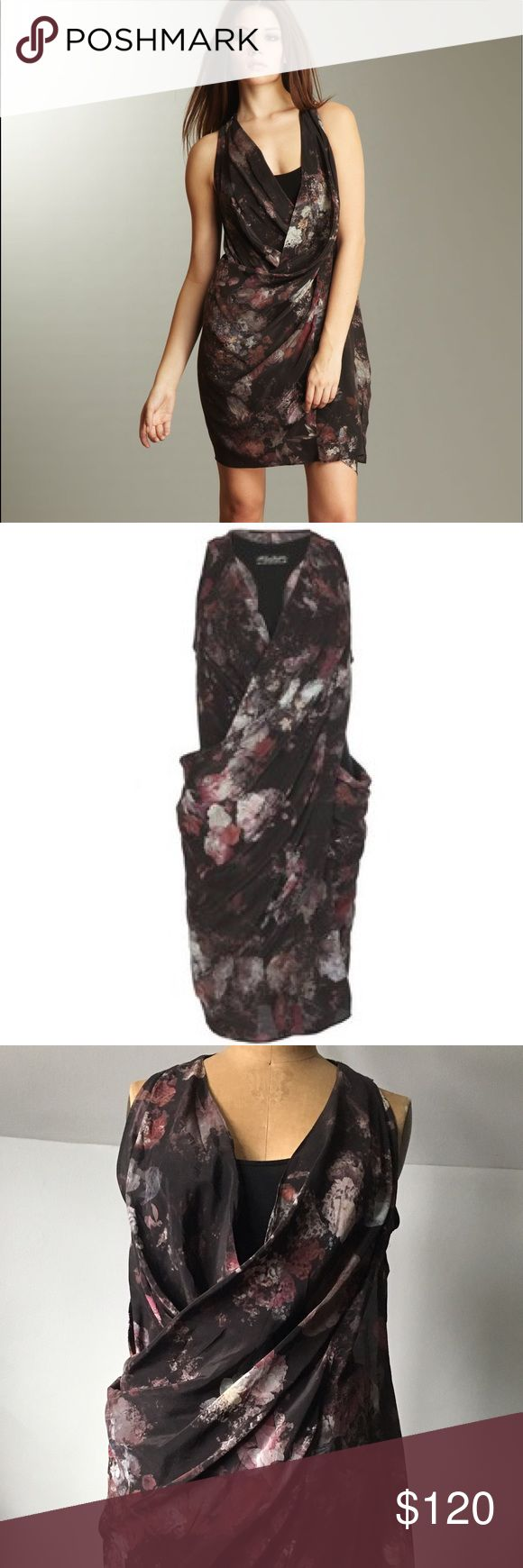 Allsaints Irrochka Night Floral Dress Gorgeous silk Allsaints dress. Twisted wrap detail in back and classic wrap style in front. All Saints Dresses