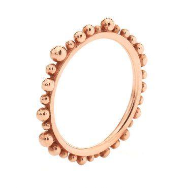 Μοντέρνο βεράκι δαχτυλίδι Huffy Κ9 ροζ χρυσό με συνεχόμενες ασύμμετρες μπίλιες περιμετρικά της γάμπας | Δαχτυλίδια ΤΣΑΛΔΑΡΗΣ στο Χαλάνδρι #δαχτυλιδι #huffy #ροζ #μπιλιες