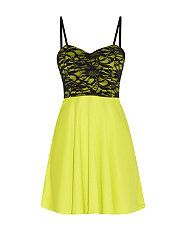 Gooseberry (Green) Cameo Rose Lime Green Contrast Lace Sequin Bustier Skater Dress | 295142735 | New Look