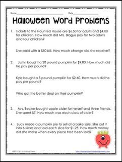 """FREE MATH LESSON - """"Halloween Decimal Word Problems"""" - Go to The Best of Teacher Entrepreneurs for this and hundreds of free lessons. 5th - 8th Grade #FreeLesson #Math  #Halloween  http://www.thebestofteacherentrepreneurs.com/2015/09/free-math-lesson-halloween-decimal-word.html"""