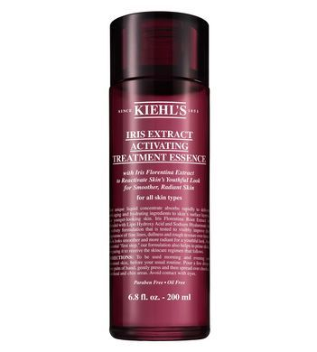 Iris Extract Activating Essence Treatment by Kiehl's.  Anti aging facial treatment water with iris flower essence replenishes skin after cleansing for 24 hour moisture.
