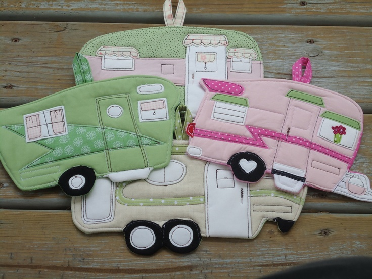 MADE TO ORDER -- Custom Camper potholder made to look like your camper... or another. $20.00, via Etsy.