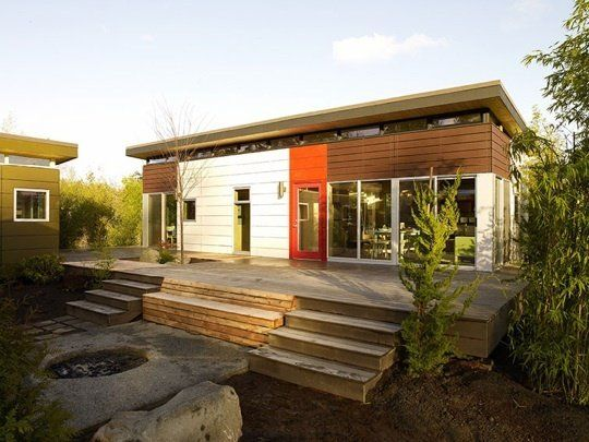 The Dwelling Shed is a full-fledged prefab home, with a host of sustainable features, such as a green roof, denim insulation, abundant natural light through insulated windows and low-VOC paints by Modern Shed in Seattle