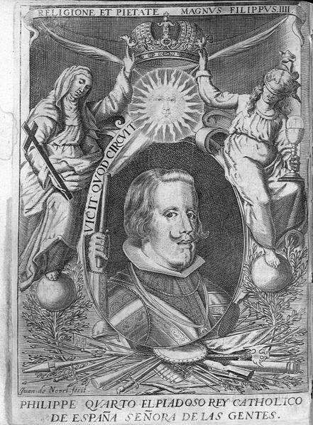 1644.Felipe IV;Juan de Noort (1587-1652),grabado incorporado a la obra de José Lainez,obispo electo de Solsona,Acción de gracias a Dios Nuestro Señor por la entrada Triunfal en la Ciudad de Lérida...,1644. Ejemplar de la Universidad de Sevilla.