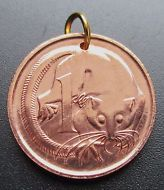 1983 Australia Coin Pendant, 1 Cent Feather-Tailed Glider