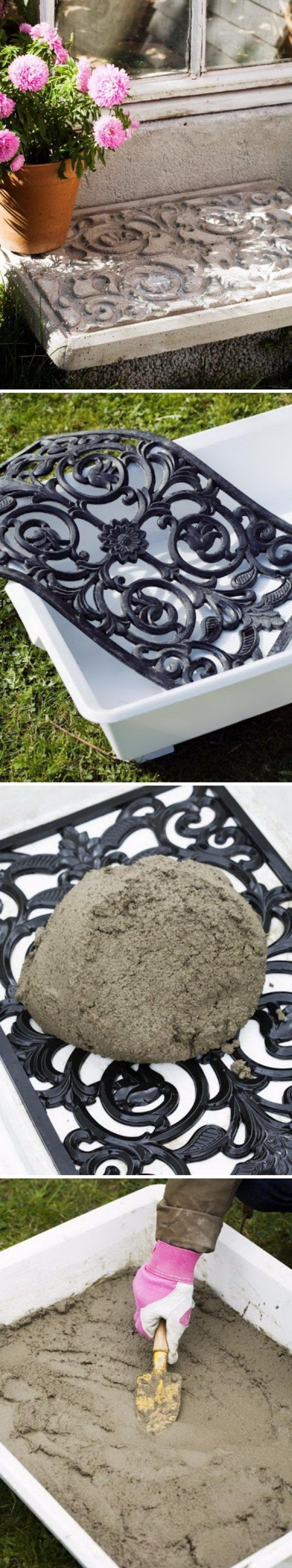 Make a sturdy and decorative concrete slab using a rubber door mat. Mix the concrete into a bucket. Brush the inside of the plastic bin and the entire mat with cooking oil. Put the mat in the bottom of the bin. Pour the concrete into the bin so that it completely covers the mat, the thickness should be about 5 cms, let dry for a day out of the sun, mist occasionally, then unmold.