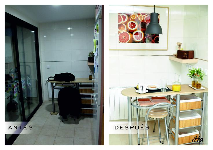 Antes / Después cocina Proyecto Piso Madrid-Sur