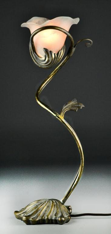 Art Nouveau Metal Flower-form Table Lamp - twisting tendrils support a single milky matte glass blossom shade