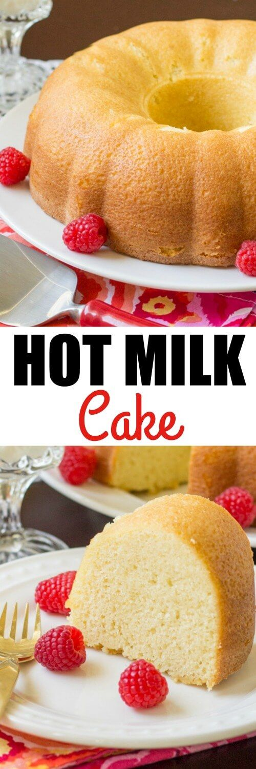 Old Fashioned Hot Milk Cake is a light and fluffy vanilla cake. This Depression-Era treat is made from simple ingredients and perfectly sweet, even when served plain. Pinned over 61,700 times!