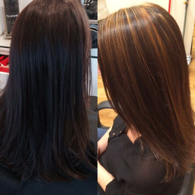 Before And After Caramel Highlight On Dark Hair By Me