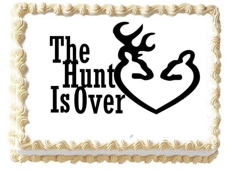 Wedding The Hunt Is Over Deer Heart Couple Edible Cake Image Half Sheet