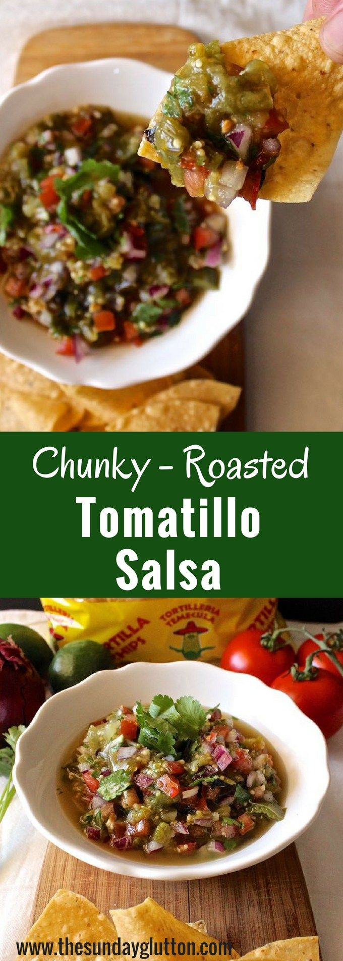 This Chunky Roasted Tomatillo Salsa is bright and acidic from the lime, a little sweet from the roasted tomatillos, and subtly spicy from the jalapeño.