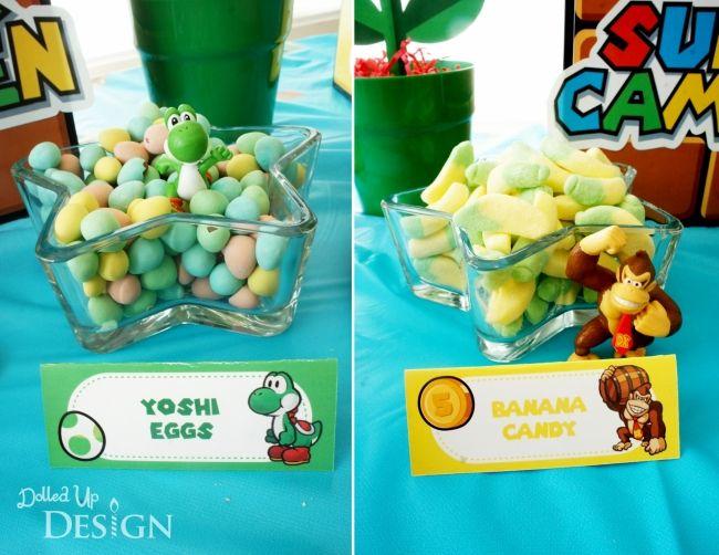 Boys Mario Bros Video game Birthday Party Candy ideas