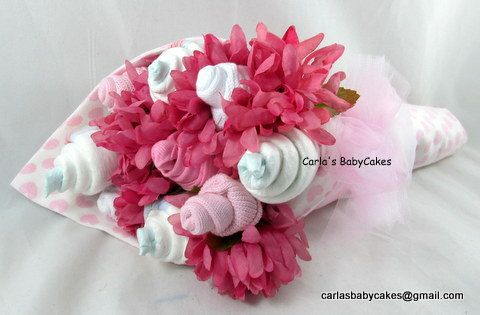 Baby Floral Bouquet  Baby Shower Bouquet  New by MsCarlasBabyCakes