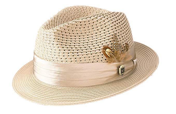 MONTIQUE Mens Braided Pinch Fedora Hat Fashion Fedoras for Men