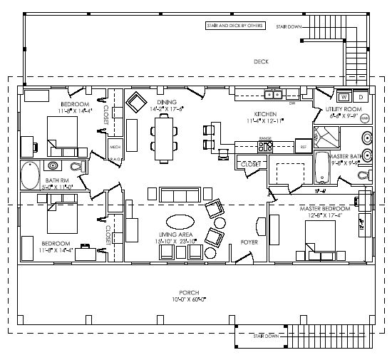 Top level of the floorplan for the windmaster brookside for Beach house plans 1800 sq ft