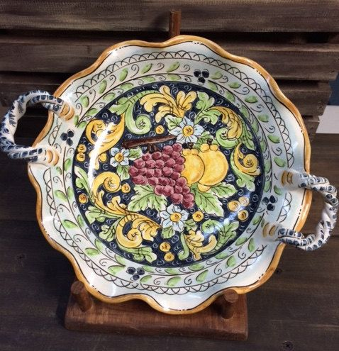 Fruit bowl with twisted handles by Bluanticoceramics on Etsy