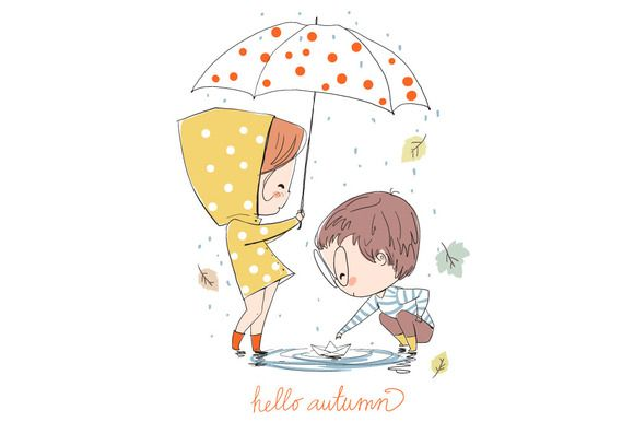 Boy and girl. Love cards. Autumn. by NatalyS on @creativemarket