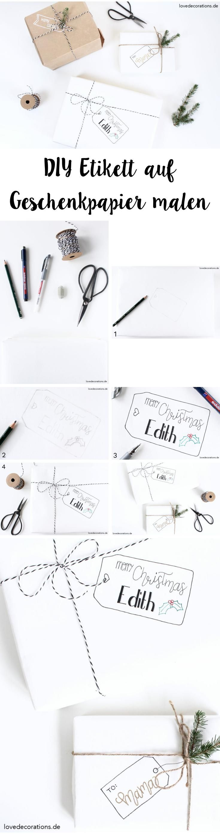 DIY Etikett auf Geschenkpapier malen | Draw Christmas Tags on Wrapping Paper