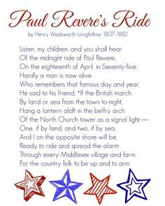 Poem The Midnight Ride of Paul Revere - Google Search