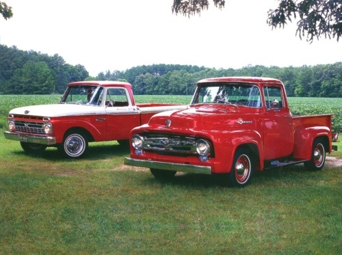1956 Ford F-100 Pickup & 1966 Ford F-100 Pickup Red.. ALWAYS wanted an old ford pickup! specifically one of these:)!!!!