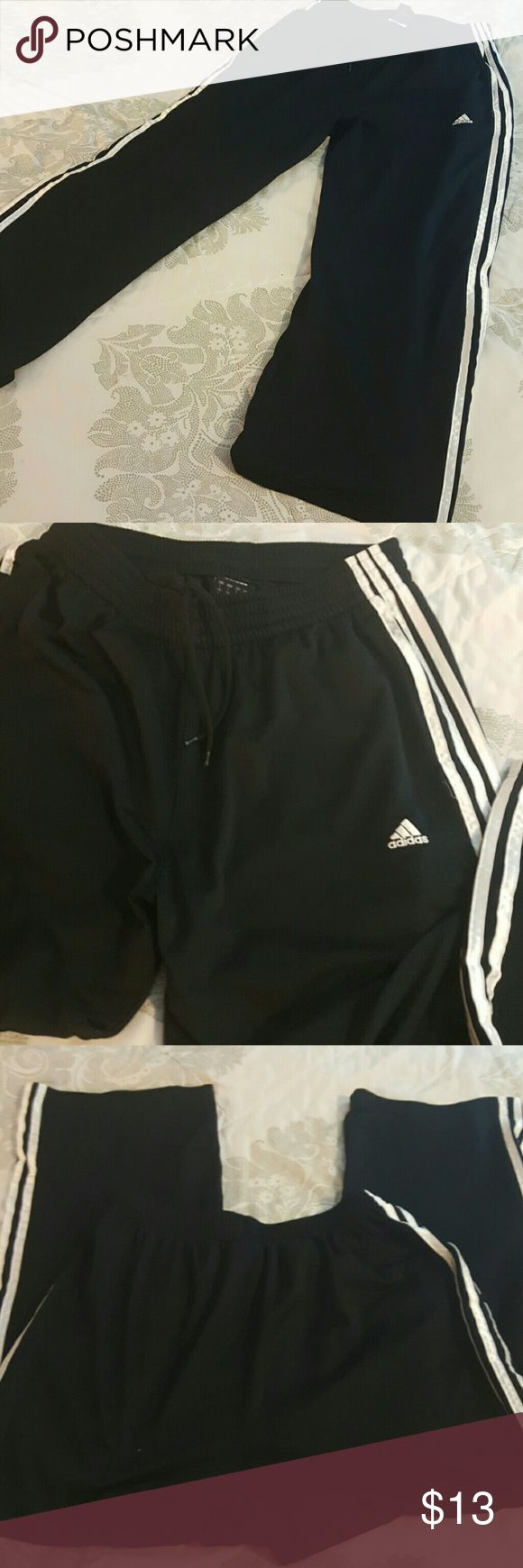 Classic Men's Adidas Black Warm-up Athletic Pants Adidas Athletic Pants with drawstring waist. Polyester material. adidas Pants Sweatpants & Joggers