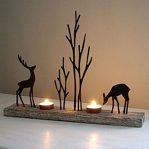 Reindeer Duo Tea Light Holder - home accessories