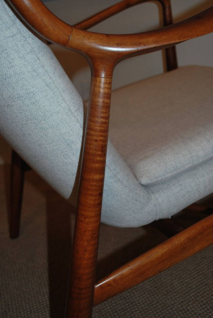 This pair of large burmese arm chairs is no longer available - Matched Pair Of Finn Juhl Nv 45 Armchairs 7
