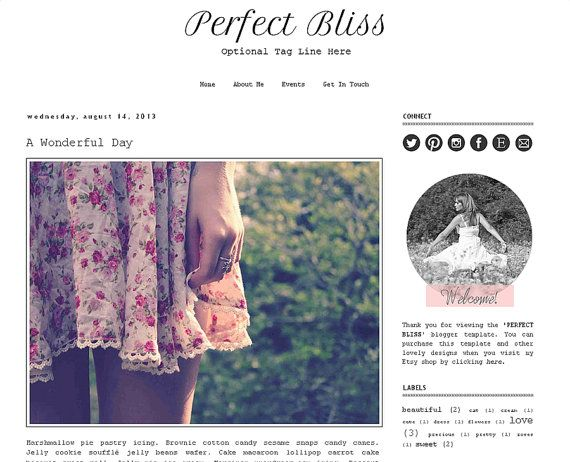 Premade Blogger Template  PERFECT BLISS  Mobile by LisasMenagerie