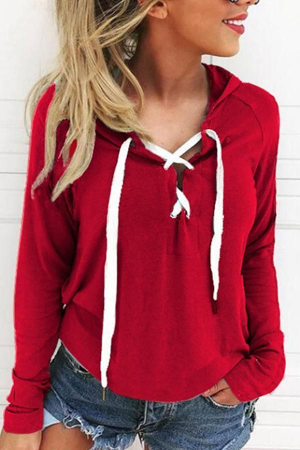50113687d Hooded Drawstring Plain Hoodies | cute outfits | Plain hoodies, Plus ...