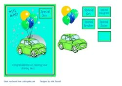 Congratulations on passing your driving test card with balloons on Craftsuprint - View Now!