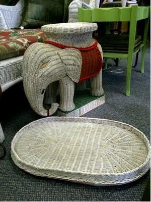 Red Elephant Wicker Table