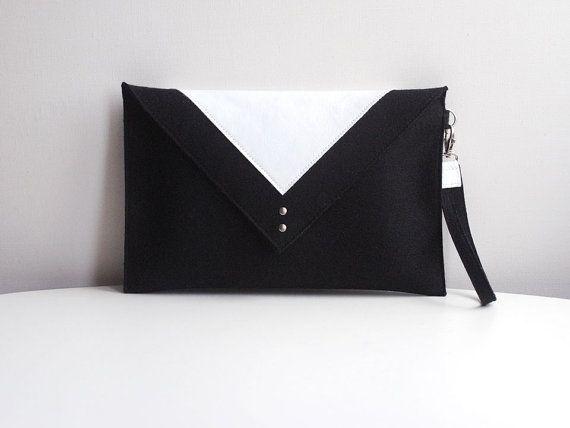 Black White Wool Felt Genuine Leather Clutch Bag By Fancyfelt 59 00 Women S Accessories Purses Handbags Bags Pinterest