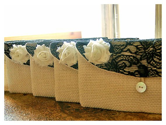 Personalize Bridesmaid gift burlap clutch purse bag by hoganfe