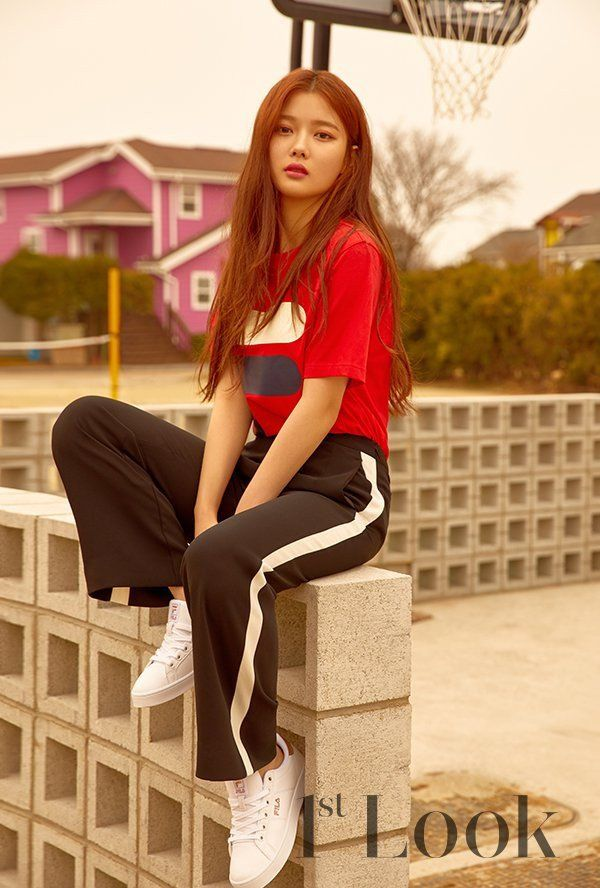Actress Kim Yoo Jung worked with 'FILA' for her '1st Look' photoshoot.   FILA will be launching their 'FILA X PEPSI' collaboration items soon, and Kim Yoo Jung wore them beautifully for her photoshoot.