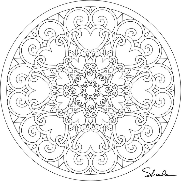 detailed coloring pages for adults heart mandalas colouring pages