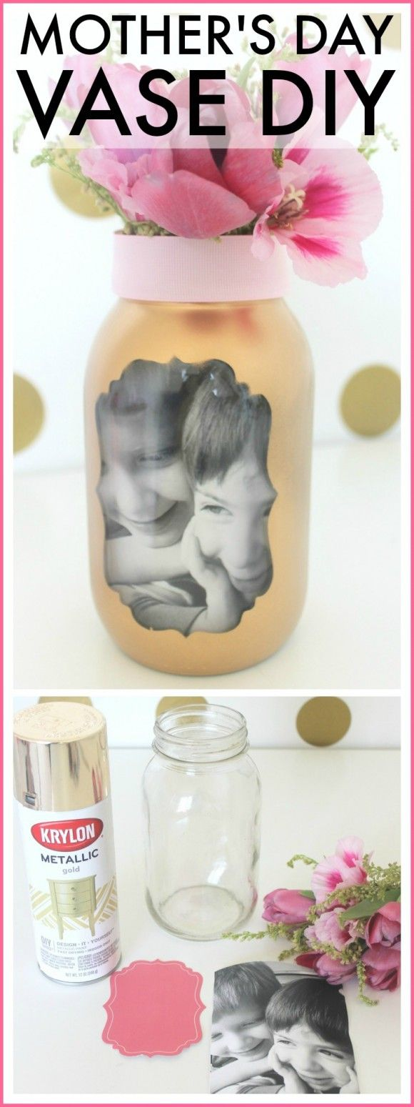Easy Mother's Day photo vase craft. This is a perfect last-minute gift that your kids can make! | CatchMyParty.com