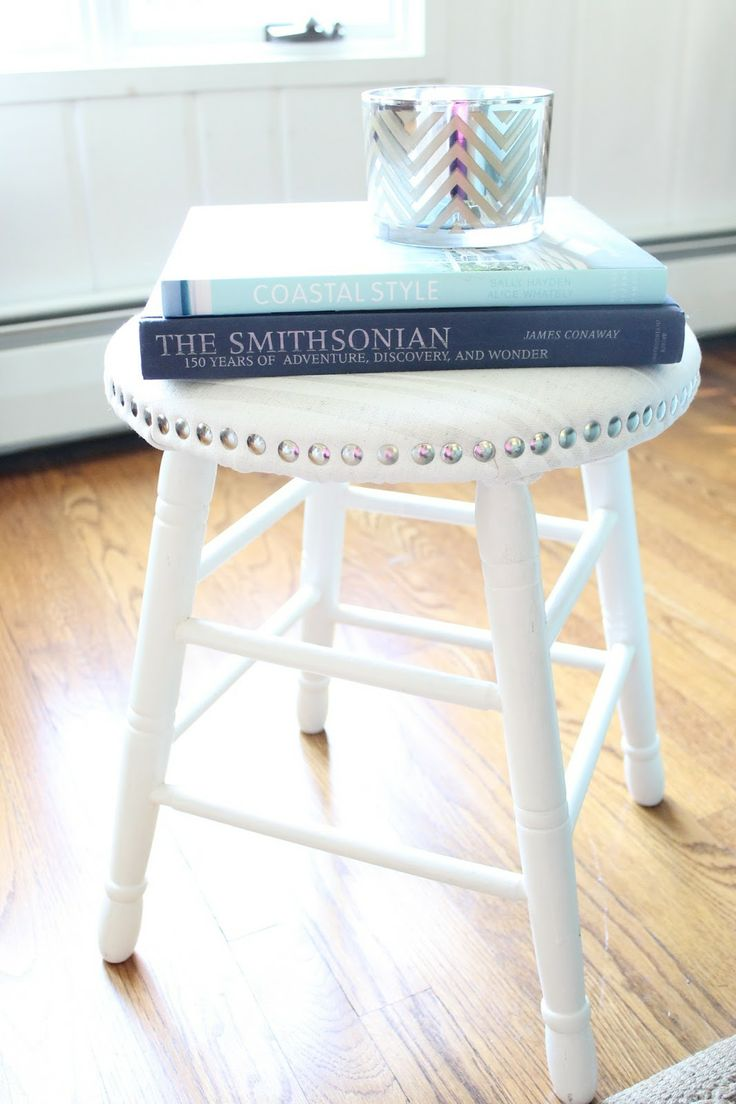 Stool makeover with faux nailhead trim - I have a stool just like this I need to makeover