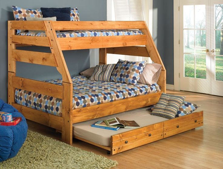 solid pine twin over full bunk bed with trundle bed