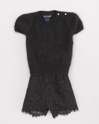 Jewel-Button Sweater & Lace Shorts by Ralph Lauren Childrenswear at Neiman Marcus.