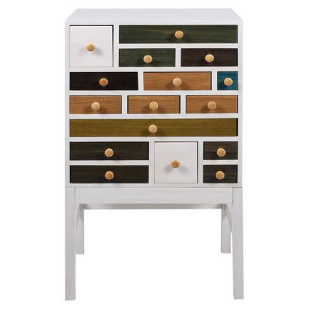 Cleverly crafted of white wood and featuring 16 multicoloured drawers, this artsy chest is the perfect storage place for trinkets in your master bedroom or t...