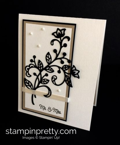 Flourish Thinlits Dies wedding card idea.  Mary Fish, Stampin' Up! Demonstrator.  1000+ StampinUp & SUO card ideas.  Read more https://stampinpretty.com/2017/04/beautiful-wedding-card-with-a-flourish.html