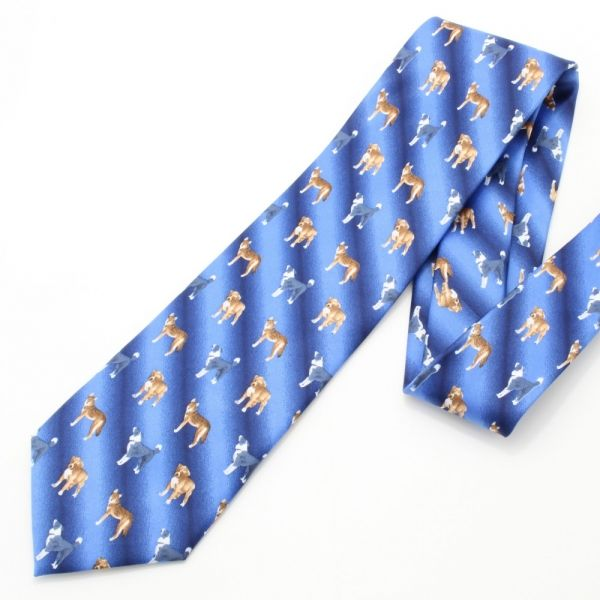 面白ネクタイ◆愛犬家さんにドックなドット柄・ブルーのコミックネクタイ
