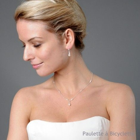Collier mariage avec bijou de dos en perles MadgellePaulette à Bicyclette
