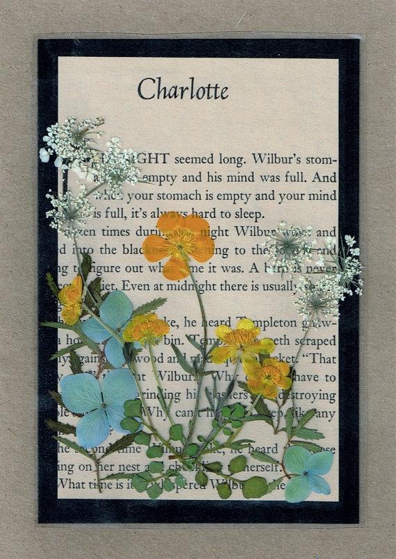 pressed flower greeting card charlotte u0026 39 s web