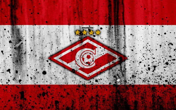 Download wallpapers 4k, FC Spartak Moscow, grunge, Russian Premier League, art, soccer, football club, Russia, Spartak, logo, stone texture, Spartak Moscow FC